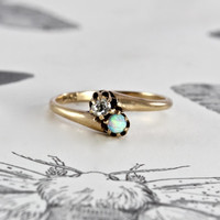 Victorian Opal & Diamond Ring, Antique 14k Yellow Gold Toi et Moi Bypass Style, Minimalist Stacking Bohemian Alternative Engagement Ring