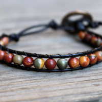 Mens Unisex Beaded Leather Single Wrap Bracelet with Natural Red Creek Jasper Beads on Genuine Black Leather Earthy Stackable Bracelet