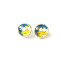 Marge Simpsons Stud Earrings - Glass Cabochons Post Earrings - Glass Dome Stud