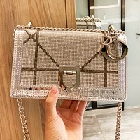 DIOR Popular Women Shopping Bag Leather Luxury Diamond Shoulder Bag Crossbody Satchel