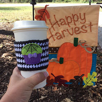Coffee Cozy~Spooky Cupcake~ Spider Web Crochet Cozy ~ Coozie ~ToGo Sleeve~Latte Cozy~Starbucks Coffee Cozy