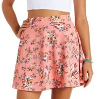 High-Waisted Floral Print Skater Skirt - Pale Pink Combo