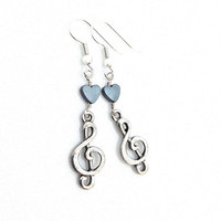 Music Note Earring, Musical Jewelry, Gift for Music Lover, Treble Clef Earring, Hematite, Antique Silver, Tiny, Music Heart, Long Dangle