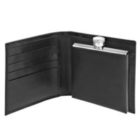 Black Leather Wallet with 2oz Flask
