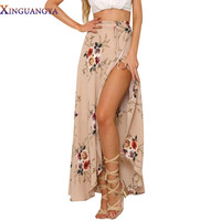 New 2017 Irregular Long Skirt Women Vintage White Floral Print Side Slit Wrap Maxi Skirt Boho Summer Beach Skirts