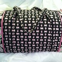 Vera Bradley PINK ELEPHANTS Large Duffel Bag - Rare, EEUC, travel, Made In USA