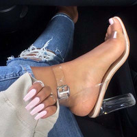 Sexy Shoes Gladiator Women Pumps Perspex Platform High Heels PVC Clear Crystal Classic Buckle Strap Fashion