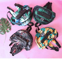 Fashion women and man leaf print bag backpack zipper