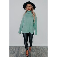 Falling For You Sweater: Sage