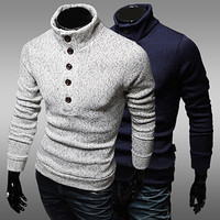 Button Up Turtleneck Sweater