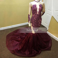 Luxury Burgundy Long Sleeve Prom Dresses Sheer See Through Beaded Crystals O neck Court Train Real Photo Long Mermaid Prom Dress