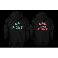 His and Her Matching Outfit Mr Right and Mrs Always Right Couple Hoodies