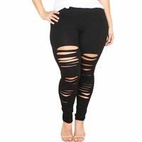 Women Plus Size Elastic Leggings