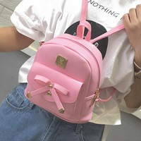 Mini Bow Women Backpack 2017 New Pu Small Backpack For Women Girl Rucksack Mochila Escolar