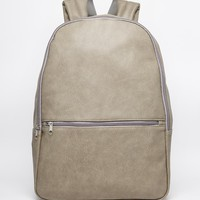 ASOS Backpack In Grey Faux Leather With Front Zip