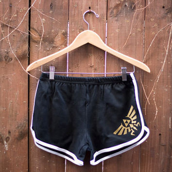 Hyrule Crest/Triforce Shorts from the Legend of Zelda - 70s Style American Apparel Shorts - Choose Size - Made to Order