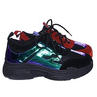 Daddy7 Retro 90s Chunky Platform Fashion Daddy Sneaker w Hologram Print