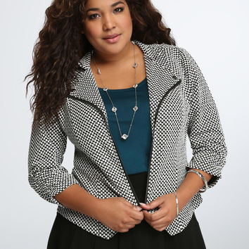 Checkered Print Knit Jacket
