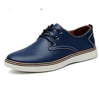 Black Dress Shoes Pointed Toe Lace Up Solid Rubber Men Oxfords Business Men Office Brown Leather Shoes