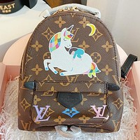 LV New fashion monogram print leather handbag backpack bag book bag