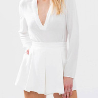 White High Waist Pleated Skort