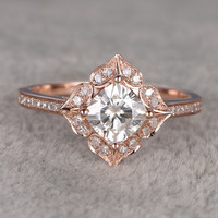 6.5mm Cushion brilliant Moissanite Engagement ring Rose gold,Diamond wedding band,1.3ct stone Promise Bridal Ring,Halo floral,Anniversary