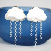 Brushed Silver Raincloud Earrings Drizzle by paperfacestudio