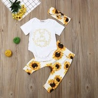 Newborn Kids Baby Girl Outfits Clothes Tops Romper Bodysuit+Sunflower Pants Sets
