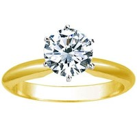CERTIFIED | 1 Carat Carat Round Cut Diamond Solitaire Engagement Ring 14K Yellow Gold 6 Prong