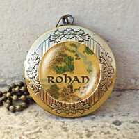 Lord of the Rings Map Necklace 'Rohan, Fangorn vintage pendant locket necklace