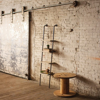 Leaning Metal And Wood Shelving Unit