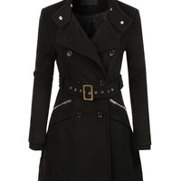 LE3NO Womens Military Double Breasted Trench Pea Coat Jacket