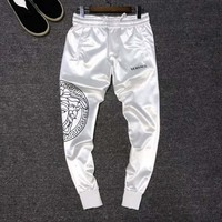 VERSACE Fashion Men Women Cool Print Sport Pants Trousers Sweatpants White