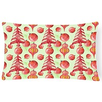 Red Christmas Tree and Ornaments Canvas Fabric Decorative Pillow BB7483PW1216