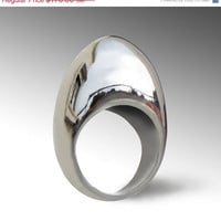 20% off SALE Ends May 23- EGG Unique Sterling Silver Ring,  Large Silver Ring, Designer Silver ring, Contemporary  Italian Jewelry
