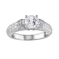 Sterling Silver Lab-Created White Sapphire Tiered Ring