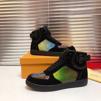lv louis vuitton trending womens black leather side zip lace up ankle boots shoes high boots 275