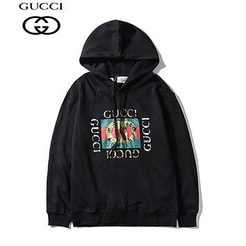 GUCCI casual couple long-sleeve hoodies are hot sellers with gold stamping prints Black