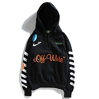 N Nike X Off White Classic Popular Women Men Leisure Long Sleeve Hooded Sweater Top Sweatshirt Black