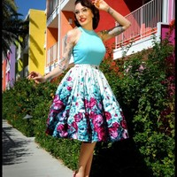 Limited Edition Jenny Gathered Full Skirt in Purple Border Print Floral | Pinup Girl Clothing