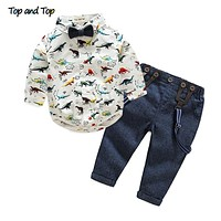 Top and Top Autumn Baby Boy Clothing Sets Bow Tie Long Sleeve Cartoon T-shirt+Suspender Pants 2Pcs/set Formal Baby Clothes