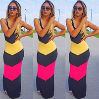 Color Block Spaghetti Strap Maxi Dress