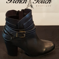 Belted Leather Black Booties