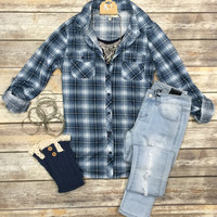 Penny Plaid Flannel Top: Blue