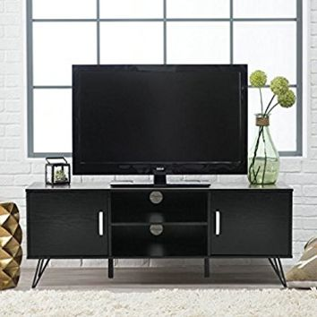 Black Finish TV Entertainment Center Console Cabinet Stand with Two Doors and Shelves