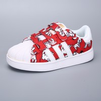 Adidas Superstar White Red Multi Velcro Toddler Kid Shoes - Best Deal Online