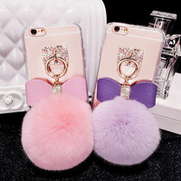Luxury Fashion Rabbit Fur Fluffy Bowknot Ball Chain Tassel Phone cases For iphone 6 6 plus Transparent TPU Back Case