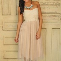 Strapless Ivory Tulle Dress