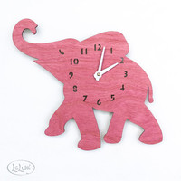 "The ""Baby Pink Elephant"" designer wall mounted clock from LeLuni"