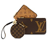LV Bag Louis Vuitton Bag monogram leather round wallet purse handbag three piece suit Crossbody bag
